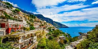 A scenic photo of the Amalfi Coast in Italy.