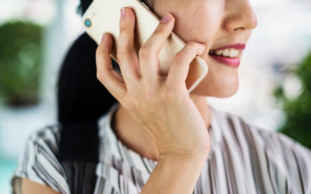 A woman using an international calling app.