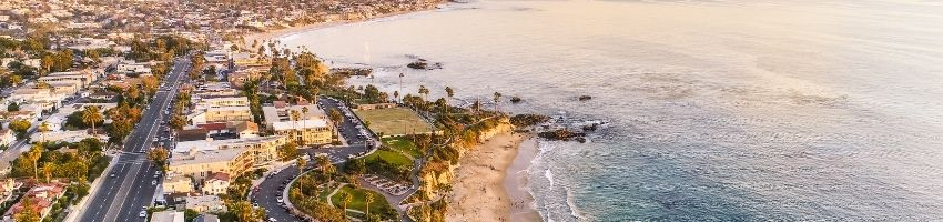 An arial view of orange county beaches.